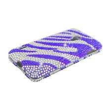 LG Lucid 2 VS870 Crystal Diamond BLING Hard Case Phone Cover Silver Purple Zebra