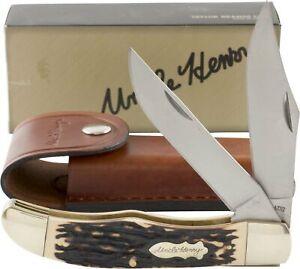 Schrade Uncle Henry Folding Hunter Pocket Knife Delrin Stag Handles Sheath 227UH