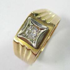 653 - Klassischer Herrenring Gold 750 rot/weiß mit Brillant -1478-