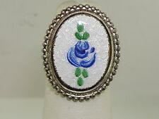 VINTAGE STERLING SILVER CLOISONNE ENAMEL RING! SIGNED BAR