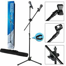 More details for adjustable professional boom microphone mic stand holder with free carry bag