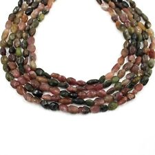 Natural Multi Tourmaline Smooth Oval Gemstone Loose Jewelry Making Beads Strand