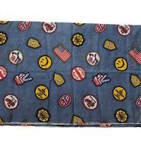 "Material Fabric Patchwork Vtg Blue Denim-look 44"" x106"" Lightweight Cotton Peace"