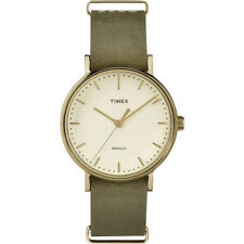 Timex Watch TW2P98500 leather man woman green classic indiglo gold fashion