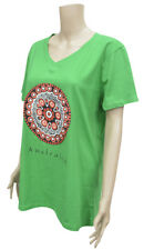 NEW 100% Cotton Womens T-Shirt Green inspired from Aboriginal Artwork - L Size