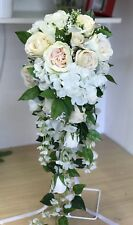 Wedding Flower Bridal Teardrop Bouquet, Vintage Pink Rose Display. Large