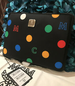 Authentic MCM Black Ipad Case Pouch Clutch Bag Wallet NEW Rare Limited Edition