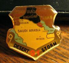 Desert Storm Lapel Pin - Vintage 1991 Middle East USA Military Map Uniform Badge