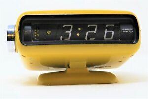 Vintage Rare Mid Century Modern Sankyo YELLOW Flip Roller Clock ~ Works/Tested