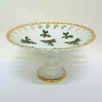 Lefton Green Gray Holly Compote Gold Trim Vintage Christmas Candy Japan 7803
