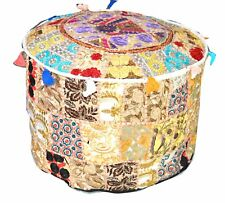 HANDMADE ROUND BEIGE SEATING POUF COVER FOOT STOOL BOHEMIAN PATCHWORK OTTOMAN