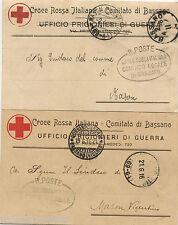CROCE ROSSA COMITATO DI BASSANO (VI), UFFICIO PRIGIONIERI, 2 TESTATINE, 1916   m