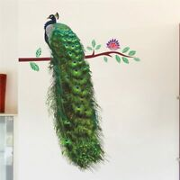3D Peacock Birds Flower Wall Stickers for Living Room Art Decal Home Decoration