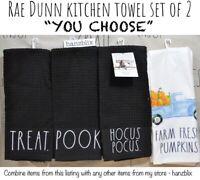 """Rae Dunn Kitchen Towel Set (2) Sunflower Pumpkin BOO TRICK """"YOU CHOOSE"""" NEW'20"""
