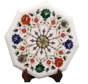 White Marble Coffee Table Top Precious Multi Stone Floral Inlay Arts Decors W031