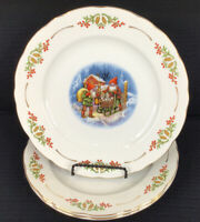 """Christineholm Old Fashioned Christmas Set Of 3 Dinner Plates 10.5"""" Made In Japan"""