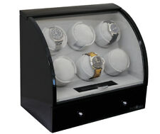 Pangaea Six Motor Piano Black Automatic 6 Watch Winder Storage Box NEW Q600