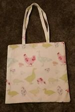 tote shopping bag  -  chickens - ducks - pink - green - spotty