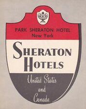 New York City Park Sheraton Hotel Vintage Luggage Label sk2555