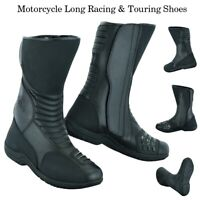 Mens Motorbike Leather Boots Biker Racing Motorcycle Armoured Shoes Waterproof