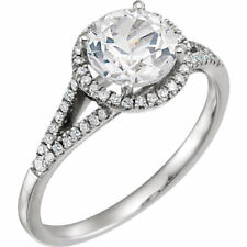 Diamond & Created White Sapphire Ring In 14K White Gold (1/5 ct. tw.)
