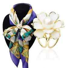 Tricyclic Camellias Pearl Scarf Buckle Brooch (white)