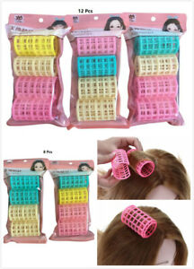 8 or 12 Pcs Womens Plastic Makeup DIY Tool Hair Styling Roller Curlers Clips