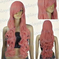 33 inch Hi_Temp Soft Milkshake Pink Curly wavy Long Cosplay DNA Wigs 967KPN