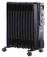 Daewoo 11 Fin 2500W Portable Oil Filled Radiator Heater with Thermostat - Black