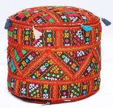 New Red Handmade Mirror Embroidered Ottoman Pouf Stool Seat Moroccan X-Mas Decor