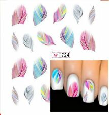 Rainbow Feathers Nail Art Water Transfer Sticker Decals UK Seller Free P&P