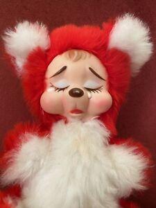"Vtg Rushton Bear Rubber Face Red Valentine Bear Sad 10"" Plush Stuffed Animal Toy"
