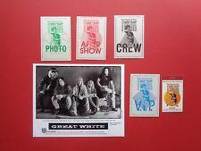 GREAT WHITE,TESLA,promo photo,5 Backstage passes,RARE Originals,Double head Tour