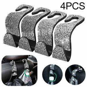 4PCS Bling Rhinestone Car Seat Headrest Hooks Backseat Hanger Bag Cloth Holder
