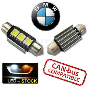 BMW Bright Canbus White LED Number Plate Light 36mm C5W 3 SMD Bulbs
