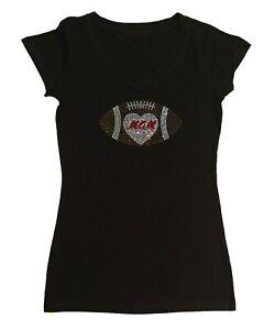 Women's Rhinestone T-Shirt Football Mom Heart in Size - Sm to 3X