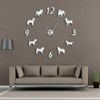 Home Wall Clock 3D DIY Acrylic Mirror Stickers Modern Puppies Design Watches New