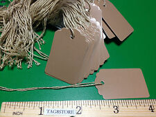 200 Scalloped Kraft Print 1 X 1 5/8 Paper Merchandise Price Tags with String tag