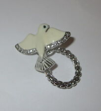 Dove Eyeglass Holder Magnetic Pin Silver Tone White Crystal Accents New Jewelry