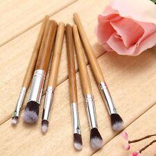 6 PCS Bamboo Handle Eye Makeup Brushes Cosmetic Flat Angled Brush Pincel Set New