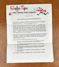 Vtg 1960s Paper Ad Ephemera Fort Howard Paper Company Advertising Letter [a06]