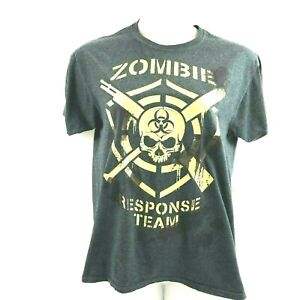 Zombie Response Team T Shirt Top Medium Gray Short Sleeve Fruit of Loom Pullover