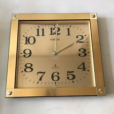 Vintage Citizen Quartz Gold Wall Clock Made in Japan Square Retro Working W32cm