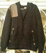 Vintage Mens PUMA Black Vegan Leather XL Quilted Cardigan Sweater W Hood