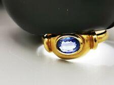 Schmuck 750 Gelbgold Ring  kornblumen blauer Saphir   0,75 Carat Top Design Ring