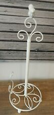 KITCHEN TOILET PAPER TOWEL HOLDER WITH BIRD ON TOP WHITE METAL FREESTANDING