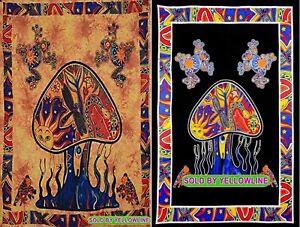 2 piece Mushroom Tapestry Bohomen Indian Wall Hanging Wholesale (77cmX102cm)OB-5
