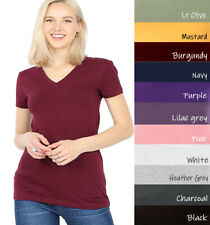 (Zenana Outfitters) V-Neck Short Sleeve T Shirt Plain Solid Top Stretchy Cotton