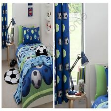 Catherine Lansfield BLEU FOOTBALL housse couette simple + assortis 183cm