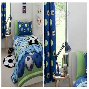 """CATHERINE LANSFIELD BLUE FOOTBALL SINGLE DUVET COVER + MATCHING 72"""" CURTAINS NEW"""